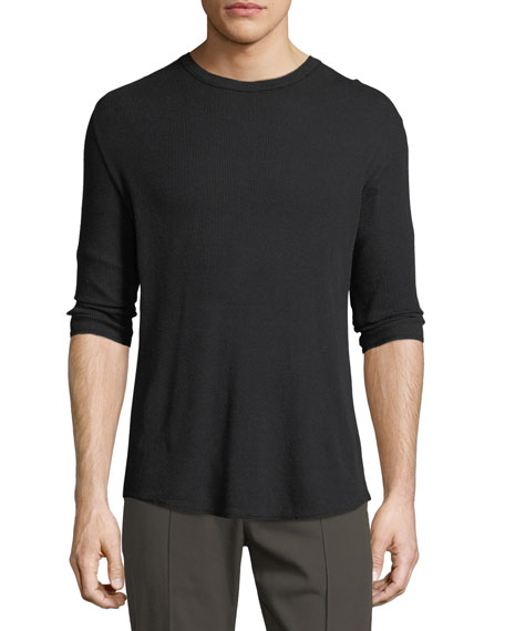 Waffle-Knit Long-Sleeve T-Shirt