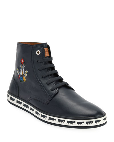 Men's Alp Star Leather High-Top Sneakers