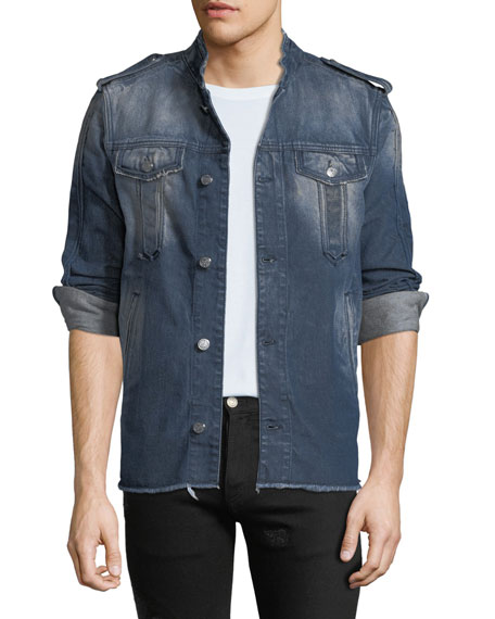 Balmain Men's Denim Military Shirt