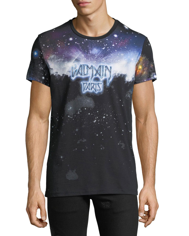 Balmain Mens Galaxy Print T Shirt Neiman Marcus