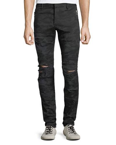 Men's Distressed Camo Straight-Leg Biker Jeans