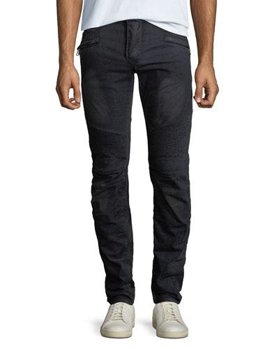Men's Velvet Straight-Leg Biker Jeans