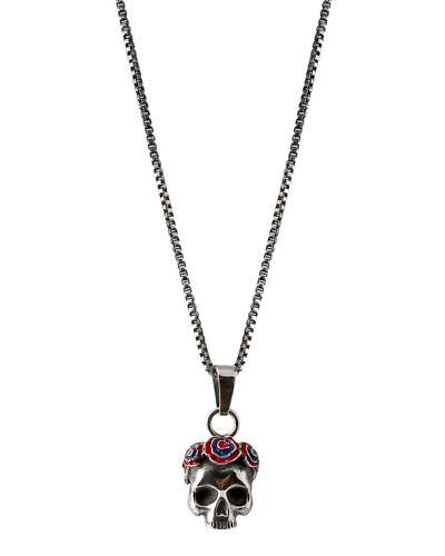 Men's Skull Pendant Necklace, Silvertone