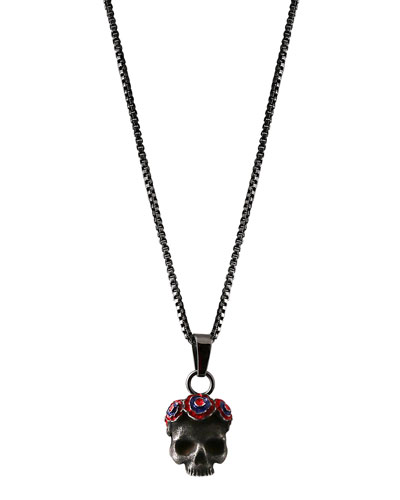 Men's Skull Pendant Necklace, Dark Gray