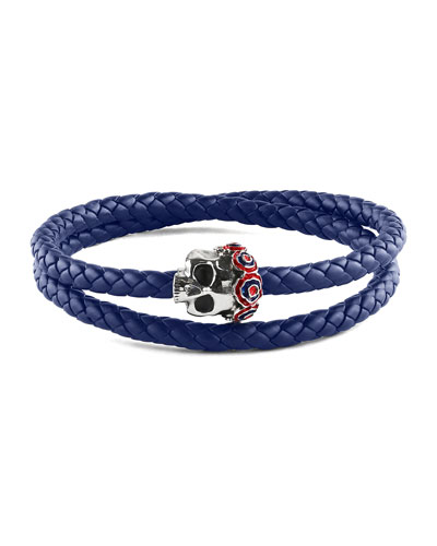 Men's Gothic Skull Pop Rubber Bracelet, Blue, Size L