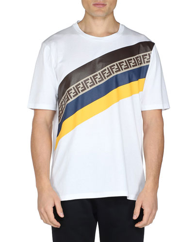 Men's Colorblock Diagonal FF Stripe Graphic T-Shirt