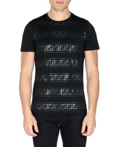 Men's Tonal Striped FF Print T-Shirt