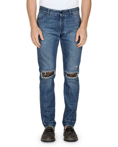 Men's Rip-Knee Straight-Leg Jeans