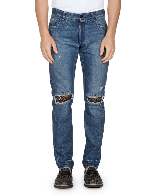 afbac055121 Fendi Men s Rip-Knee Straight-Leg Jeans