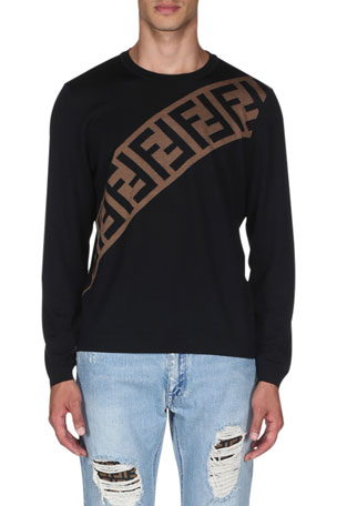 Fendi Men's Diagonal-Logo Wool Pullover Sweater