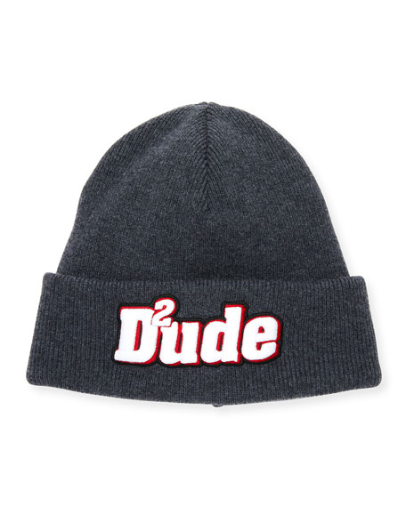 Dsquared2 Men's Dude Patched Front Wool Beanie Hat