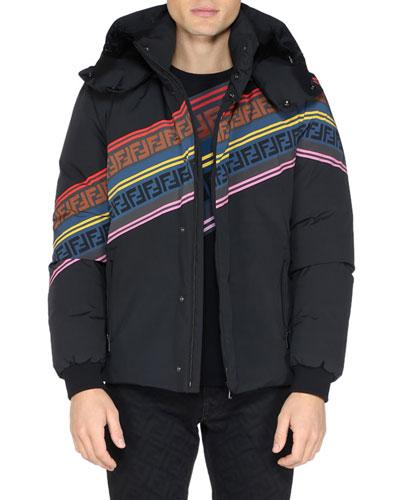 Men's Multicolor Retro Diagonal Stripe Ski Jacket