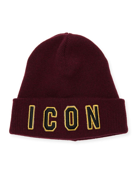 Dsquared2 Men's Icon Patched Front Wool Beanie Hat