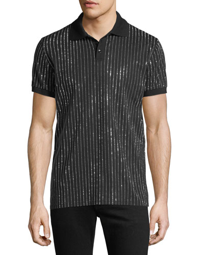 Men's Crystal-Striped Polo Shirt