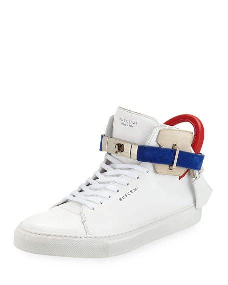BUSCEMI Men'S 100Mm Leather Mid-Top Sneakers in White