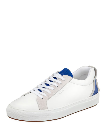 BUSCEMI Men'S Lyndon Leather Low-Top Sneakers in White