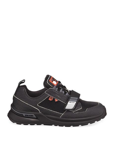 Men's Vitello Sport Sneakers with Grip-Strap Detail