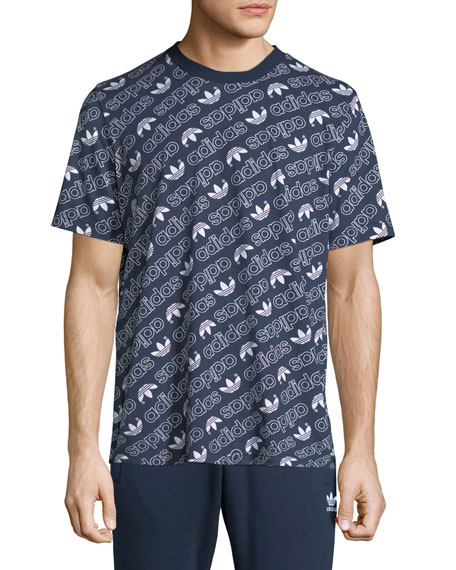 Adidas Men's Diagonal Logo T-Shirt, Navy