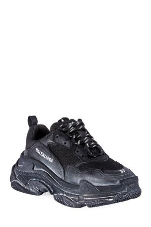 Balenciaga Men's Triple S Tonal Mesh & Leather Sneakers