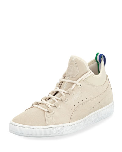 Men's x Big Sean Suede Mid-Top Sneakers, White