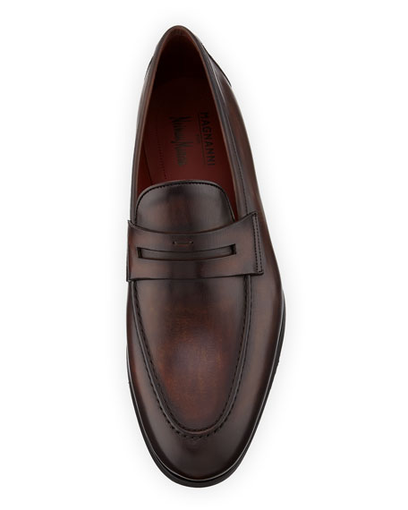 NEIMAN MARCUS Leathers MEN'S LEATHER PENNY LOAFERS