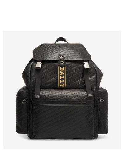 Men's Logo-Embossed Flap-Top Leather Backpack