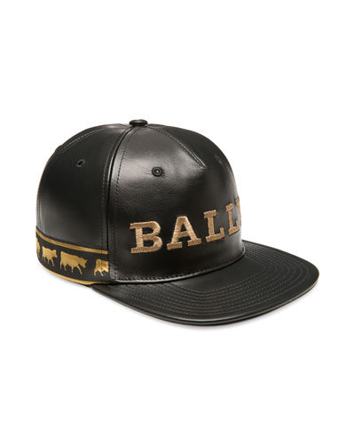 Men's Logo-Embroidered Leather Baseball Hat