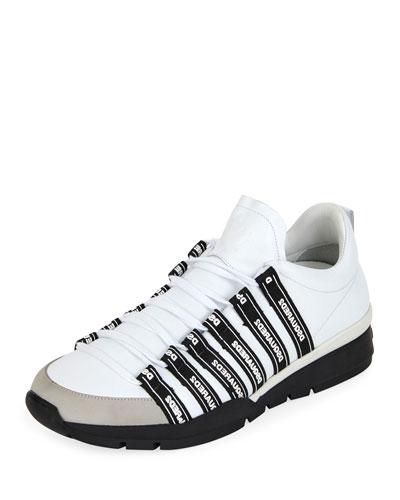 Men's Logo Strap Sneakers, White