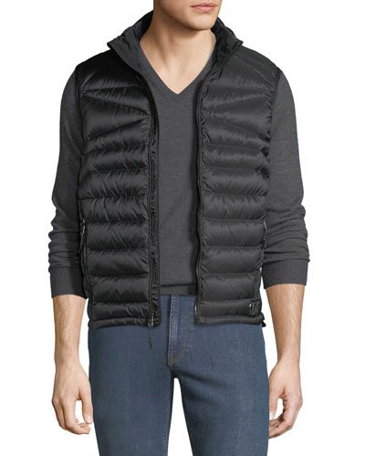 Men's Zip-Front Down Puffer Vest, Black