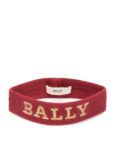 Men's Logo-Embroidered Canvas Headband, Red