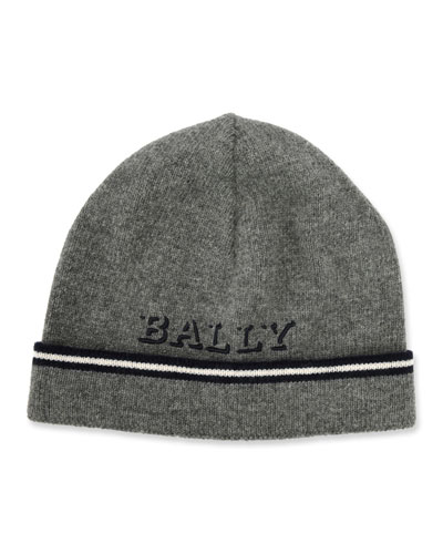 Men's Logo Patched Wool Beanie Hat