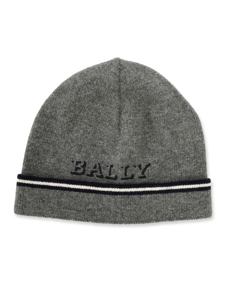 Bally Men's Logo Patched Wool Beanie Hat