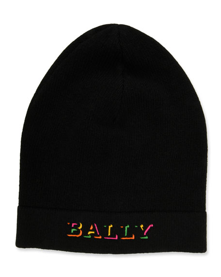 Bally Men's Rib-Knit Wool Beanie Hat with Neon