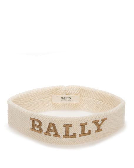 Men's Logo-Embroidered Canvas Headband, White