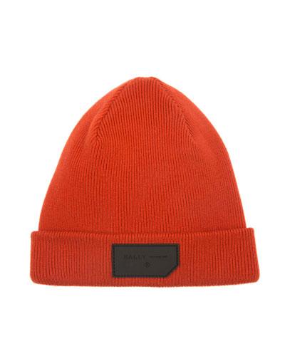 Men's Logo-Patch Wool Beanie Hat, Orange