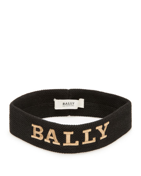 Men's Logo-Embroidered Canvas Headband, Black