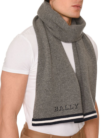 Men's Contrast-Trim Wool Scarf with Logo, Gray
