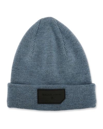 Men's Logo-Patch Wool Beanie Hat, Blue
