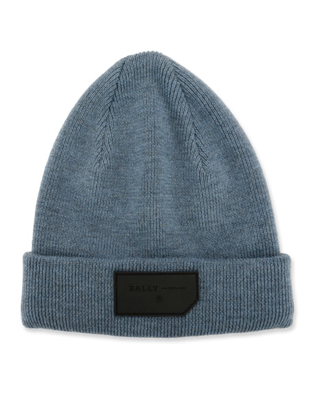 Bally Men's Logo-Patch Wool Beanie Hat, Blue
