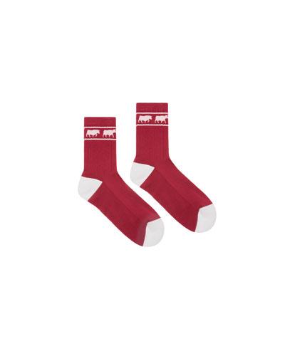 Men's Animals Tube Socks, Red