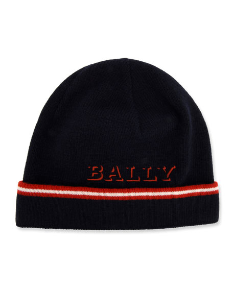 Bally Men's Contrast-Striped Wool Beanie Hat