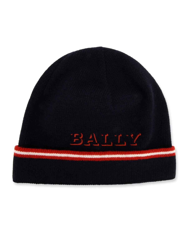 338ded69a12 Bally Men s Contrast-Striped Wool Beanie Hat