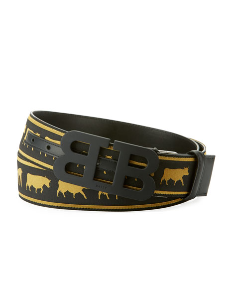 Bally Mirror B Reversible Web-Leather Belt