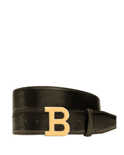 Men's B-Buckle Leather Belt