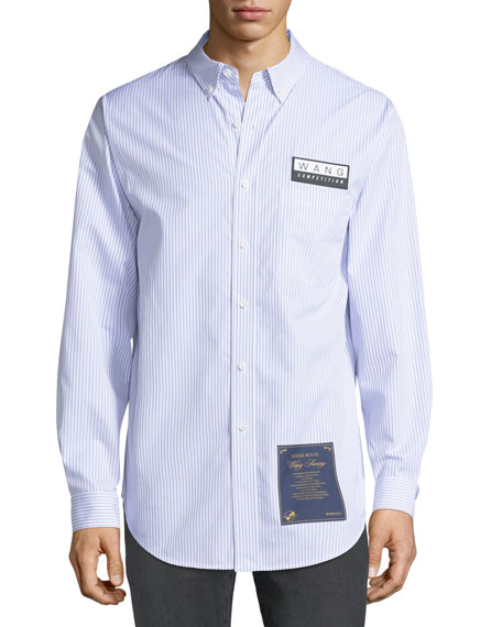Alexander Wang Men's House Rules-Patch Striped Oxford Pocket