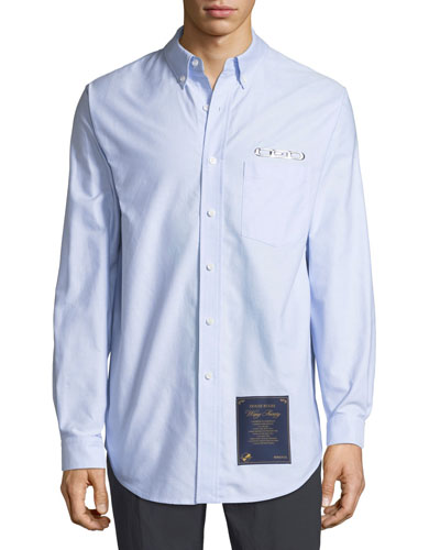 Men's CEO & House Rules-Patch Striped Oxford Shirt