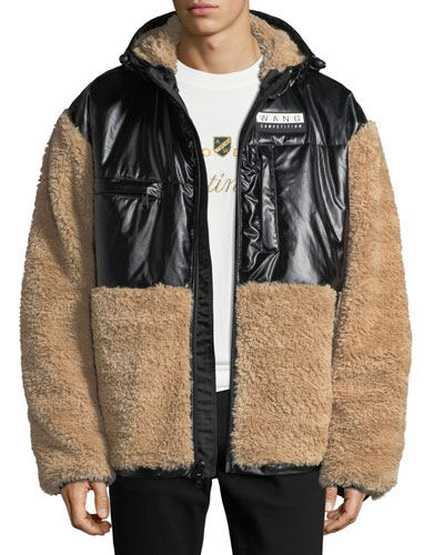 Men's Shearling Coat with Silicone Patch