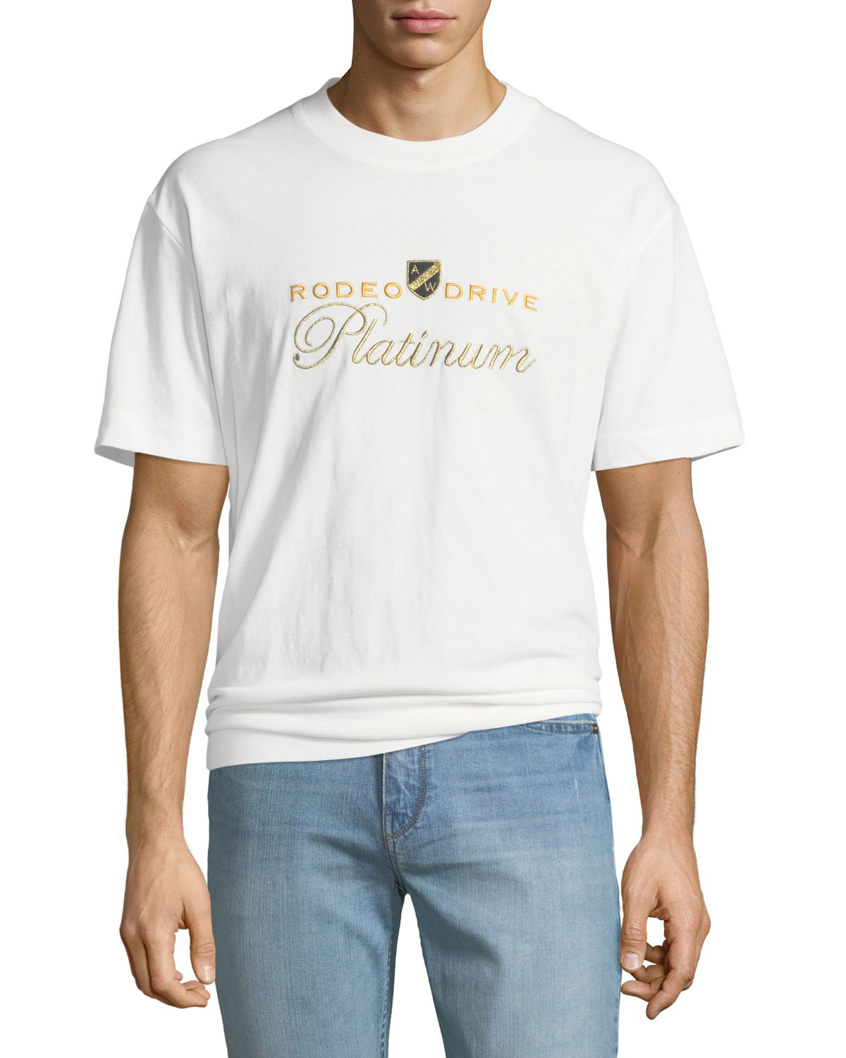 Alexander Wang Men S Rodeo Drive Platinum Embroidered T