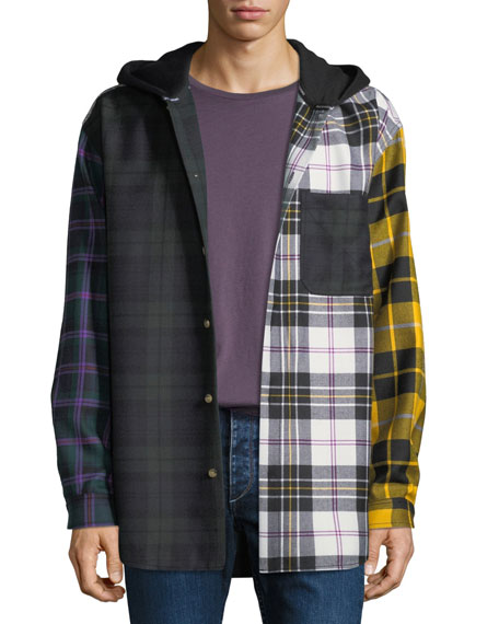 Men's Multi-Plaid Hooded Overshirt