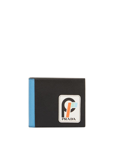Men's Saffiano Leather Bi-Fold Wallet with Runway Logo Patch